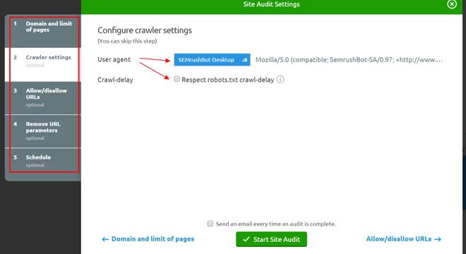 Setting up the site audit tool