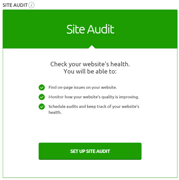 Semrush site audit tool