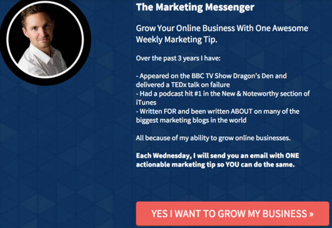 The Marketing Messenger email opt-in