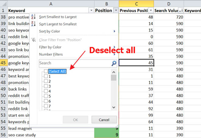 Scaling the keyword process with excel filters