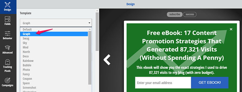 Using the graph template for the popup