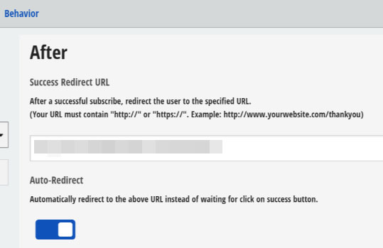 Success redirect page