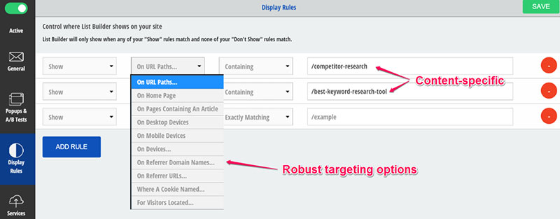 Set targeting for content upgrade