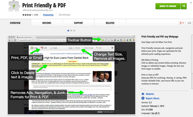Print Friendly and PDF chrome extension