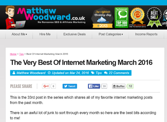 Example of link roundup on matthewwoodward.com