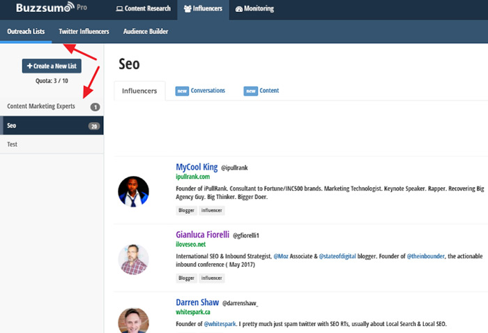 Outreach-list-in-Buzzsumo