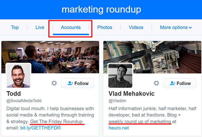 Twitter roundup research within the accounts section