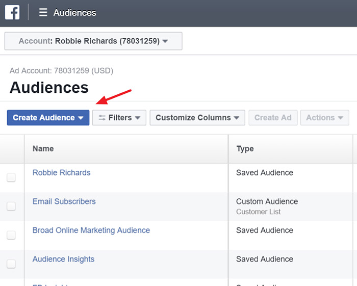 Building a website custom audience in facebook