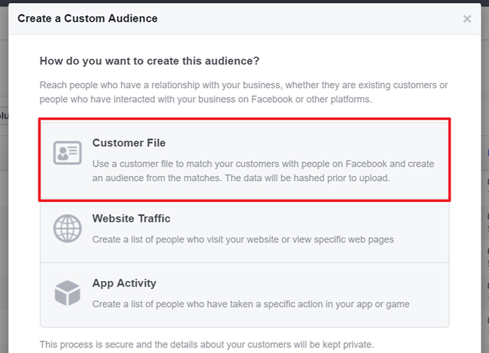 Create a facebook retargeting list from email subscribers