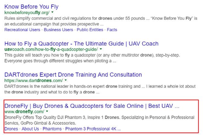 Drone Google search