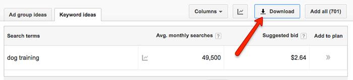 Export from Google Keyword Planner