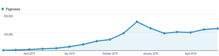 Growth in organic traffic from long tail keywords
