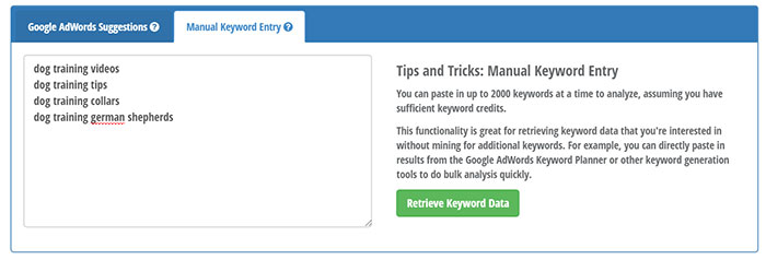Manual keyword entry