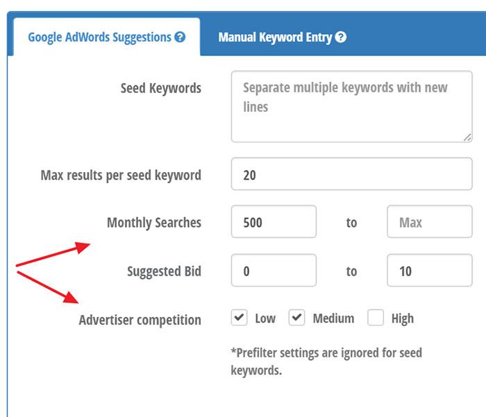 Preset keyword filters