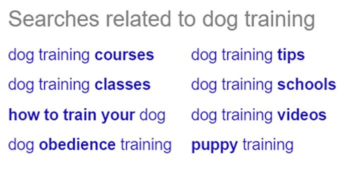 Related search in Google