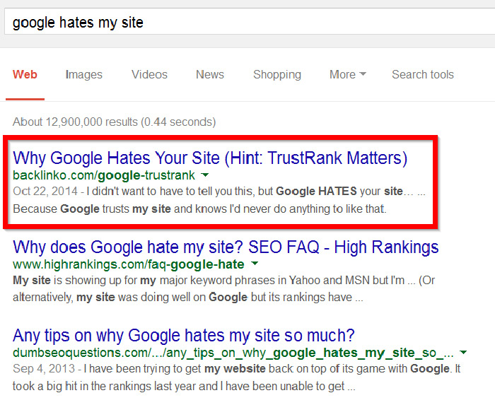 Google Hates My SIte search results