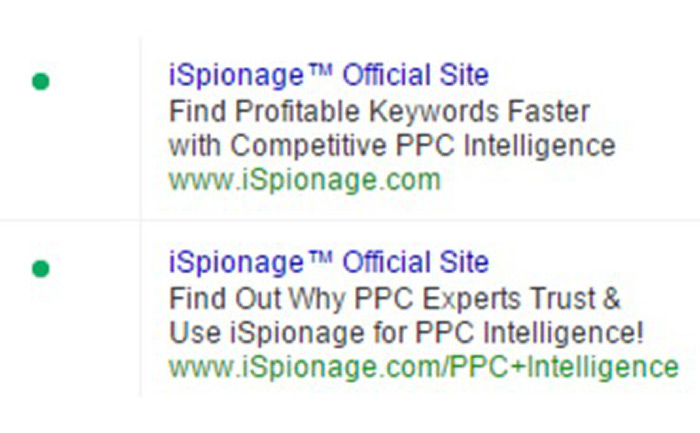 iSpionage ad copy PPC test