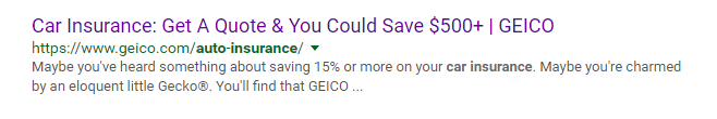 GEICO car insurance SERP snippet