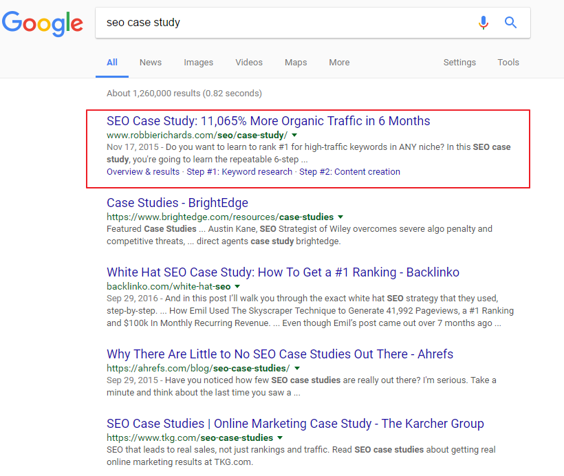 Screenshot showing #1 ranking for SEO case study