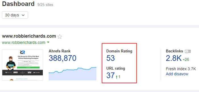 Domain Rating in Ahrefs