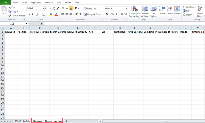 Create a keyword opportunities tab in your spreadsheet
