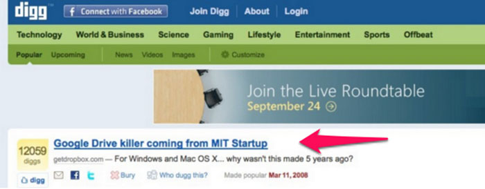 Dropbox promoting company on Digg
