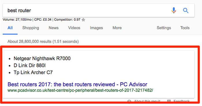 Featured SERP snippet