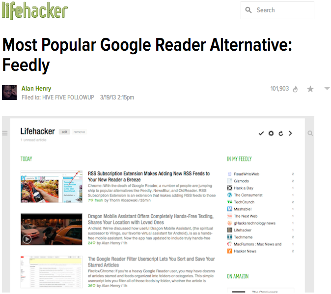 TechCrunch article talking about Feedly