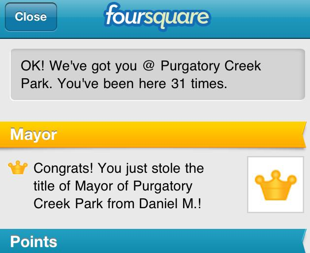 Foursquare mayor