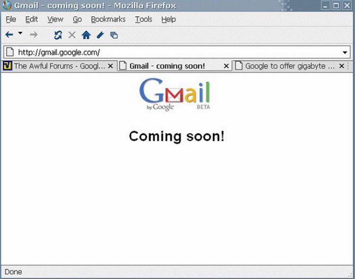Gmail coming soon page