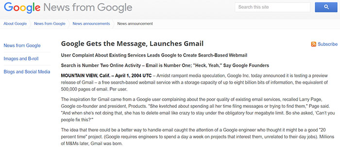 Gmail press release announcing Gmail product launch