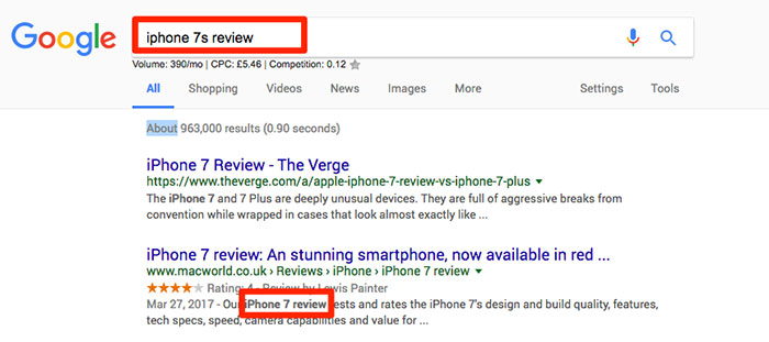 Keyword bold in SERP snippet
