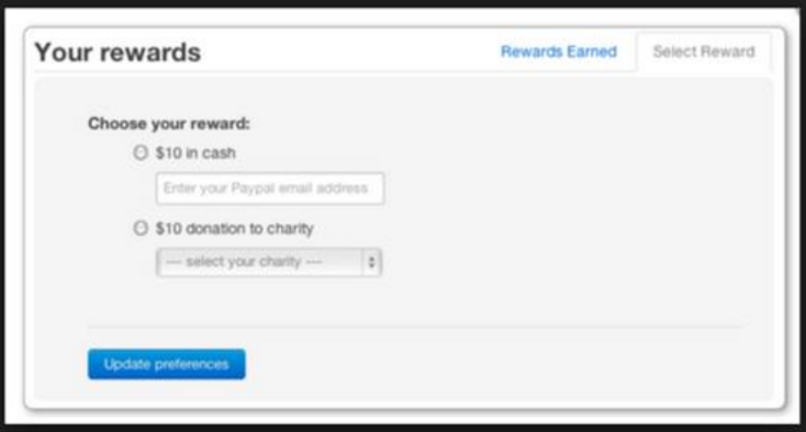PayPal cash reward system