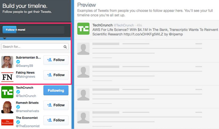 Twitter - suggested users feature