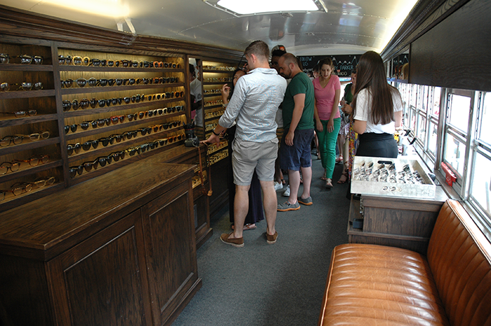 Inside Warby Parker school bus