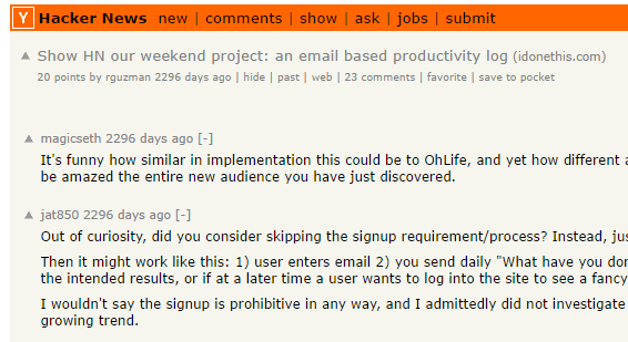 iDoneThis Hacker News submission