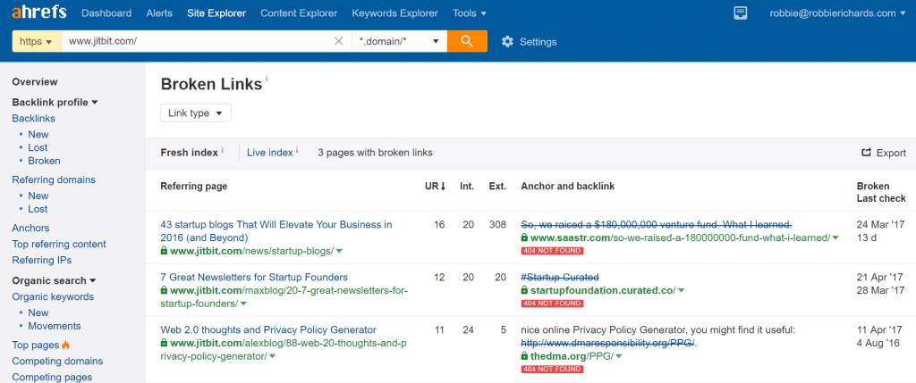 Broken link report in Ahrefs