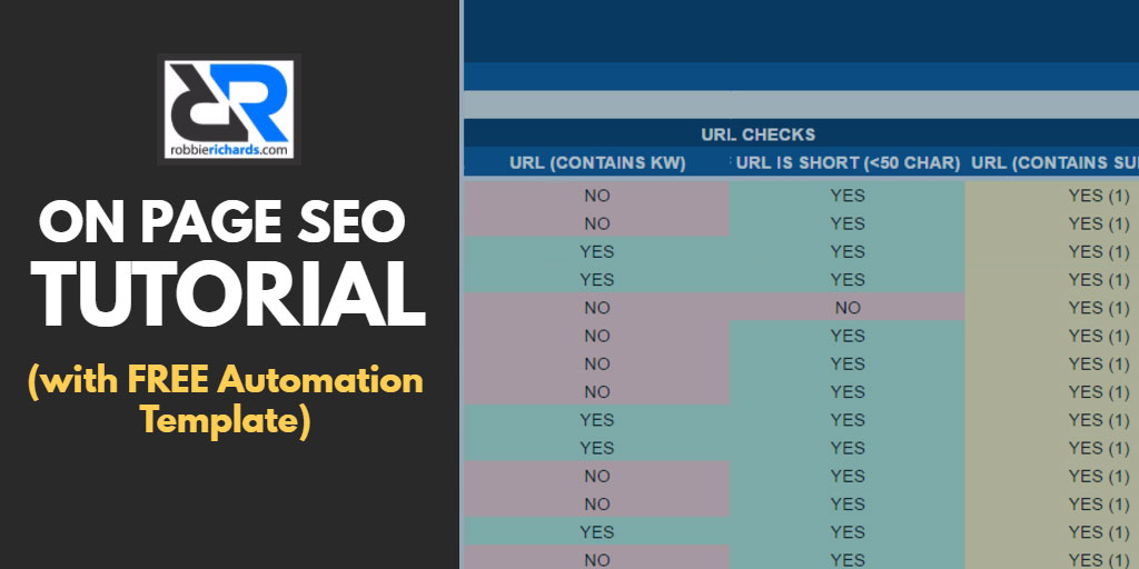 20 step on page seo checklist with free automation template