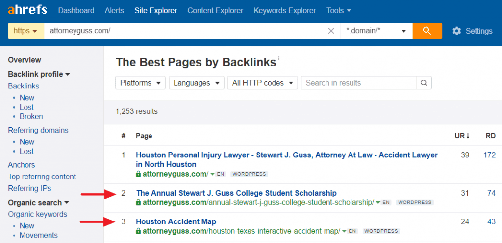 Best by links report for attorney website in Houston