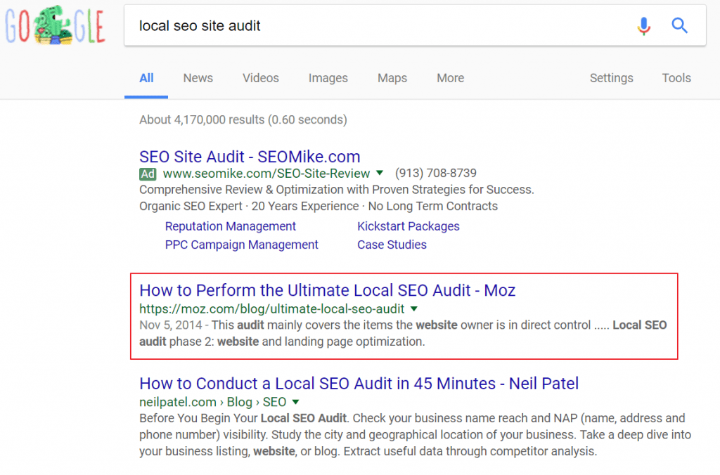 Casey Meraz ranking for local seo audit