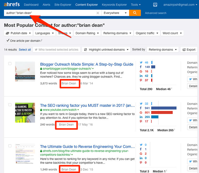 Using Ahrefs Content Explorer to find competitor guest posts