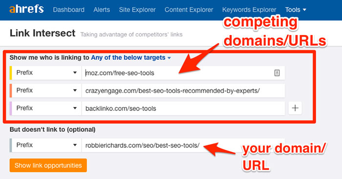 Find backlink opportunities with the Ahrefs Link Intersect Tool