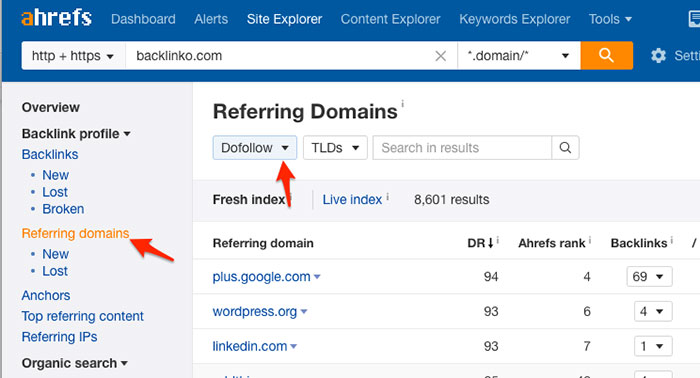 Finding all your competitor backlinks with Ahrefs Site Exploer