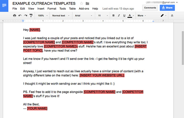 Example email outreach scripts
