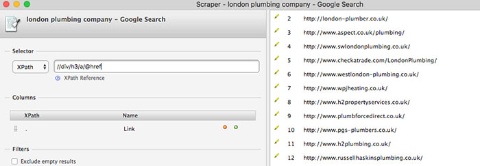 Extracting search results with free chrome extension