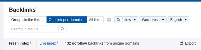 Filtering backlinks
