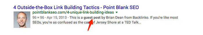 Example of Brian Dean guest post placement