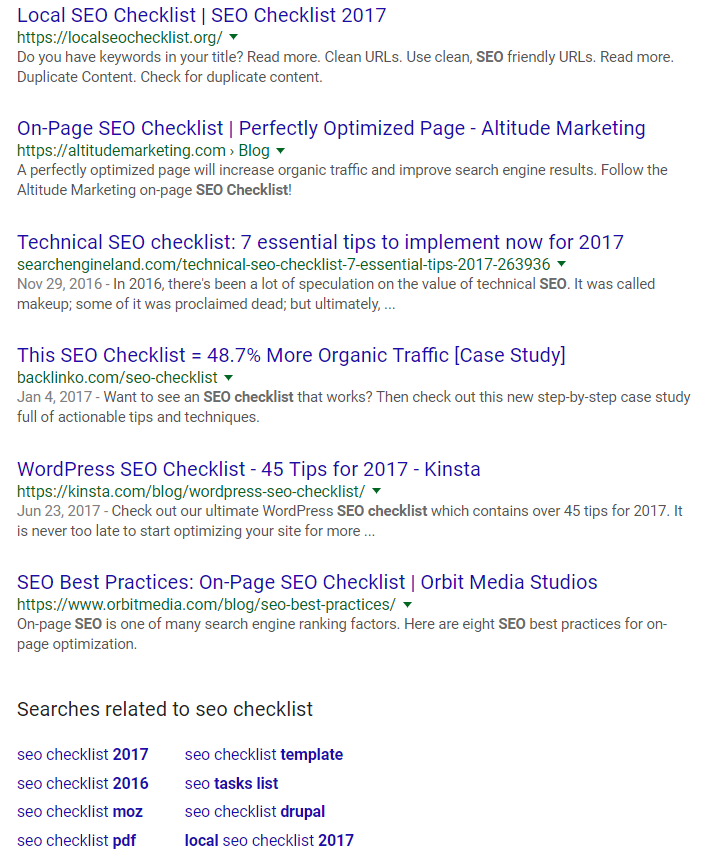 On page SEO semantic variations