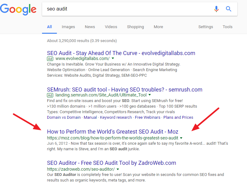 SEO audit SERP