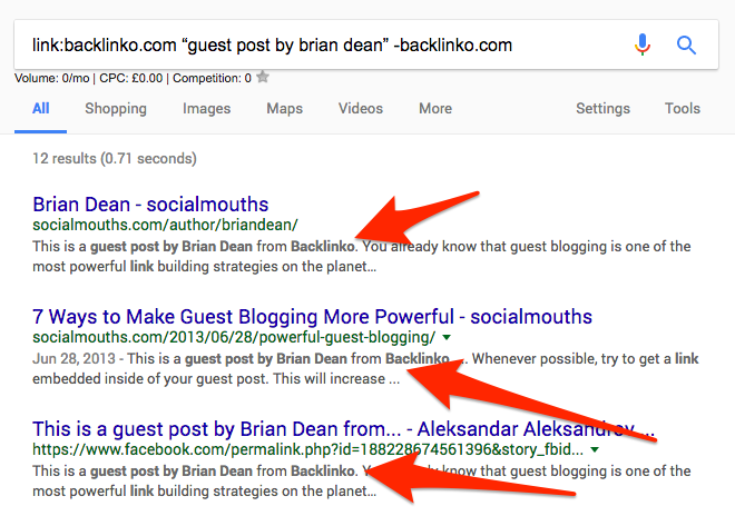 Using search operators to find Brian Dean;s guest posts